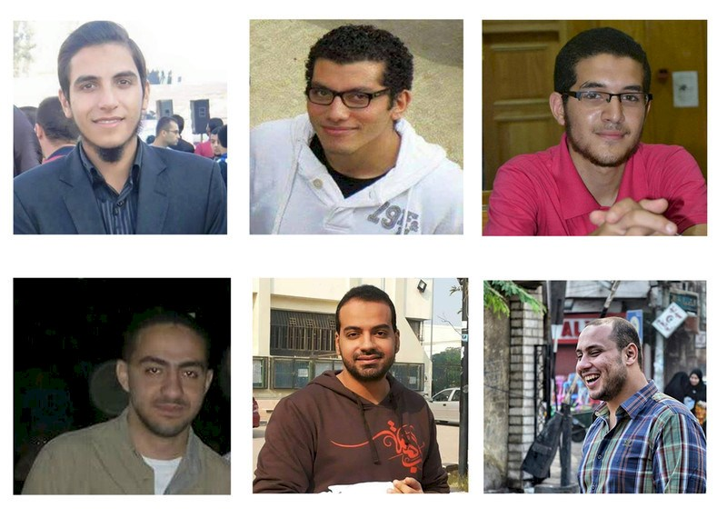 From left to right: Khaled Askar, Ahmed Meshaly, Mahmoud Wahba, Abdel Rahman Atteya, Ibrahim Azzab, Bassem el-Khereby