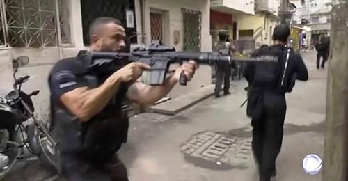 Rio police in the Jacarezinho favela, Rio de Janiero, 7 May 2021